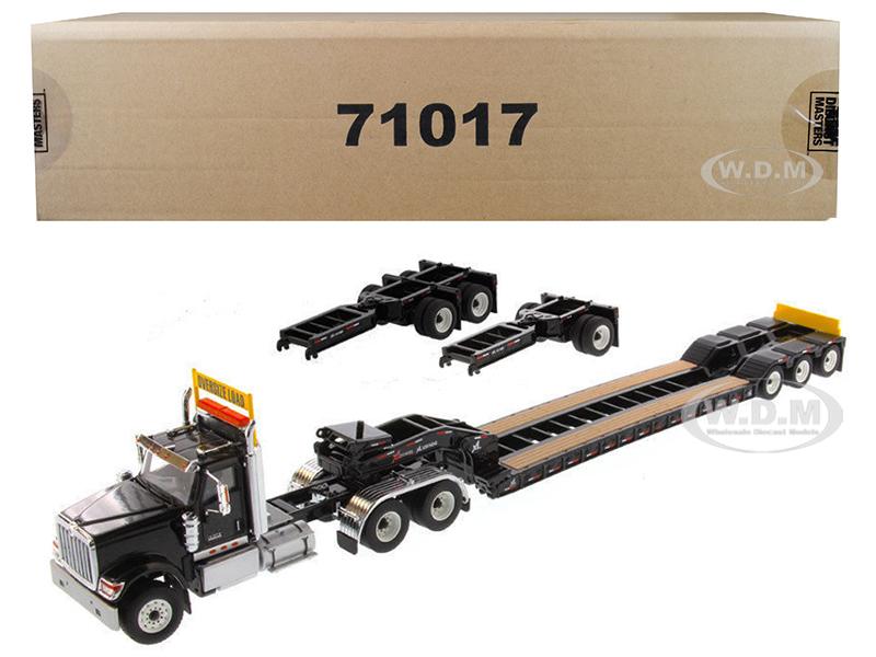 International HX520 Tandem Tractor Black with XL 120 Lowboy Trailer 1/50 Diecast Model by Diecast Masters