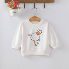 Toddler Girls Cartoon Rabbit & Heart Print Sweatshirt