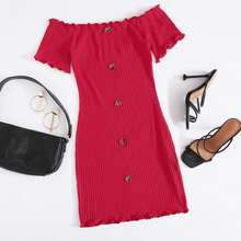 Rot Wellensaum Einfarbig Elegant Kleider