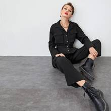 Button Front Belted Shirt Jumpsuit