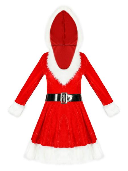 Milanoo Women\'s Christmas Dress Green Velour Sash Polyester Two-Tone Christmas Holidays Costumes