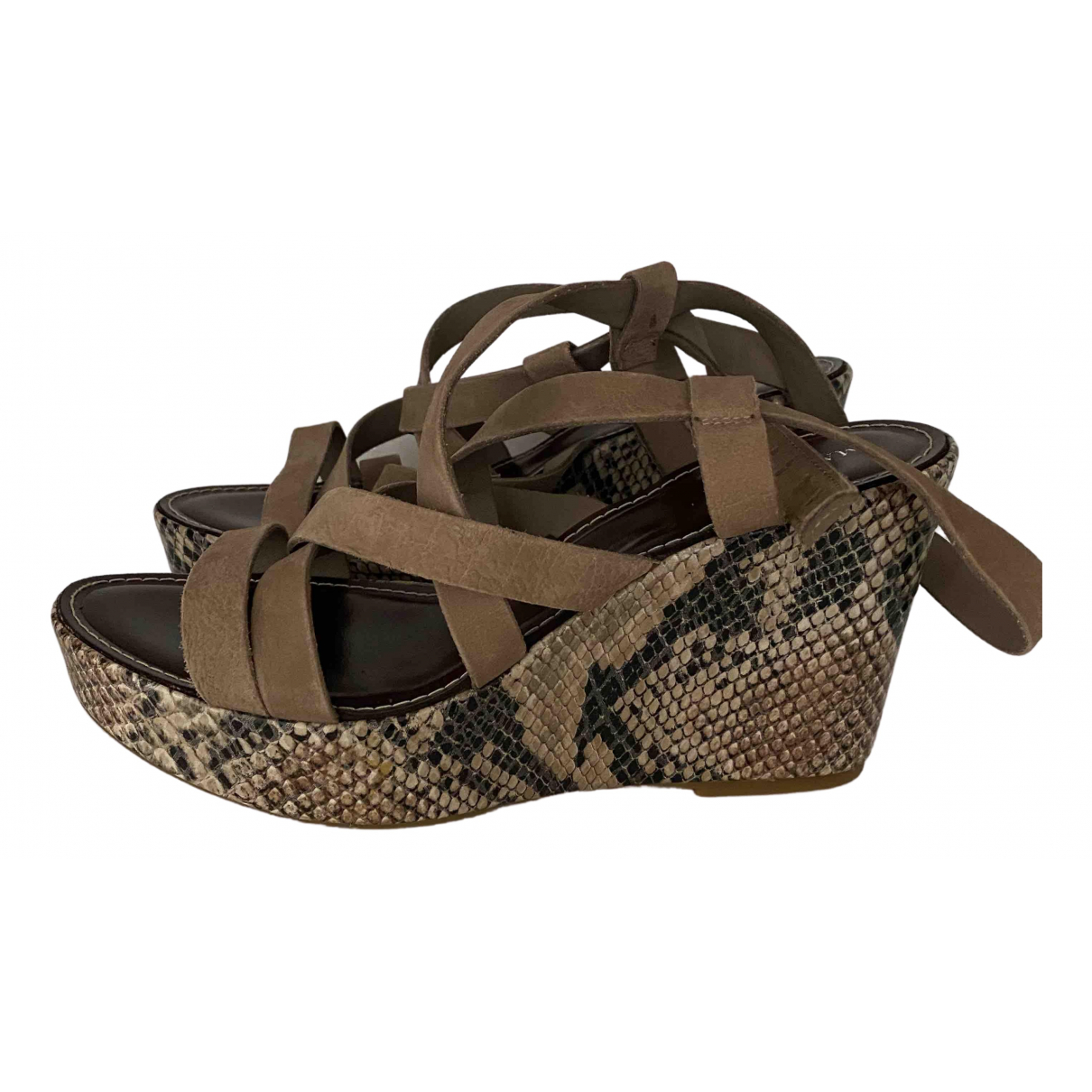 Marella N Beige Suede Sandals for Women 40 EU