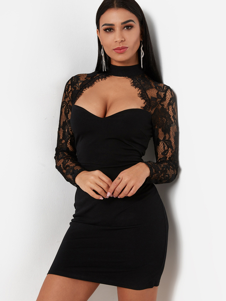 Yoins Black Sexy Crew Neck Lace Insert Mini Dress With Cut Out Detail