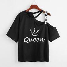 Schwarz Asymmetrisch  Buchstaben  Laessig T-Shirts
