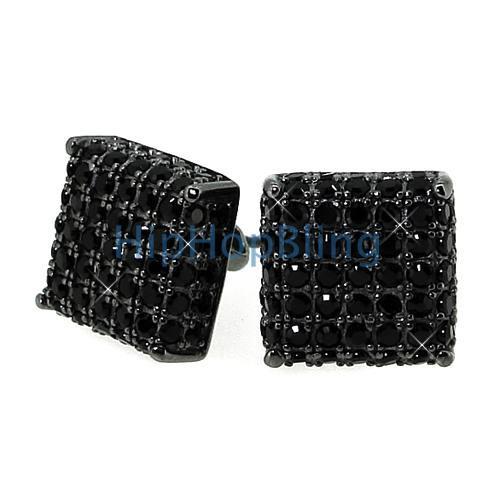 Black CZ Custom 3D Cube Bling Earrings .925 Silver
