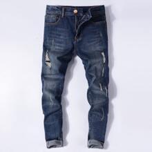 Men Ripped Zipper Fly Jeans