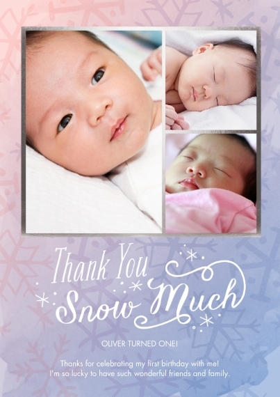 Kids Thank You Cards 5x7 Cards, Premium Cardstock 120lb with Rounded Corners, Card & Stationery -Winter One-derland Thank You