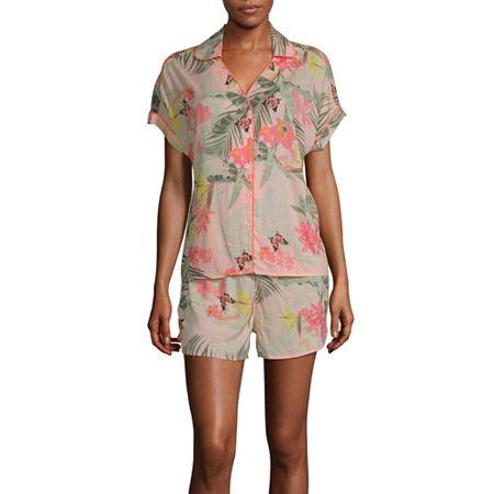 Ambrielle Womens Shorts Pajama Set 2-pc. Short Sleeve, Medium , Pink