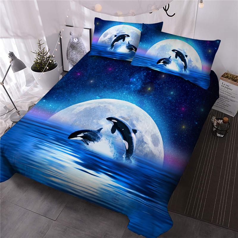 Killer Whale Reactive Printing Comforter Set Three-Piece Set Polyester Bedding Sets All-Season Ultra-soft Microfiber