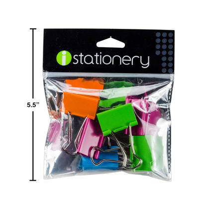 iStationery 6-Pc Binder Clips, 32mm, 4 Assorted Colours