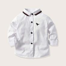 Weiss Stickerei Tiere Laessig Kleinkind Jungen Hemden