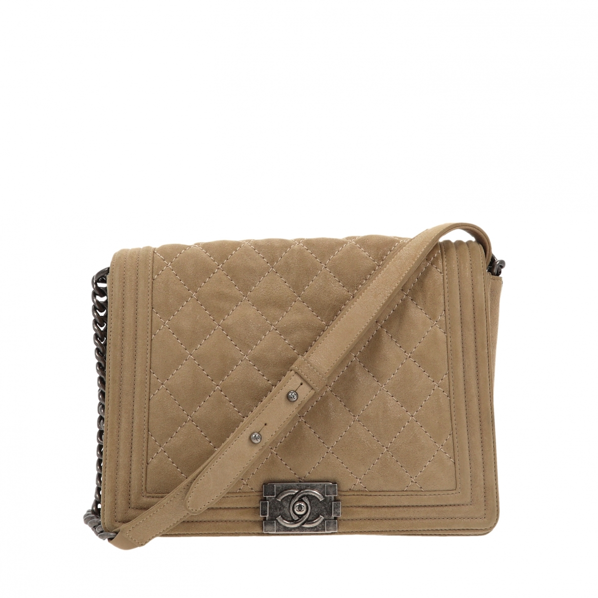 Chanel Boy Handtasche in  Beige Veloursleder