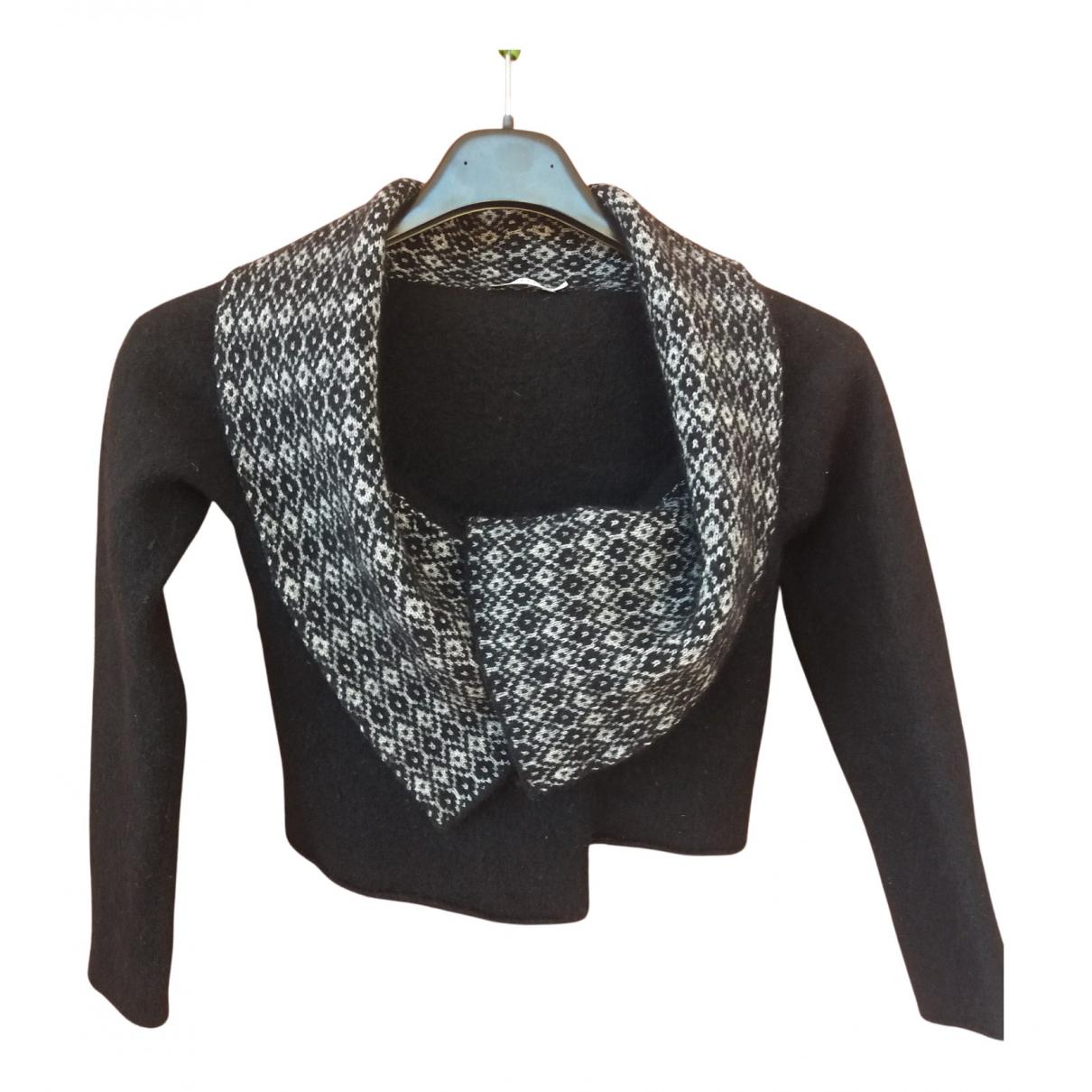 Marella - Blousons.Manteaux   pour enfant en laine - noir