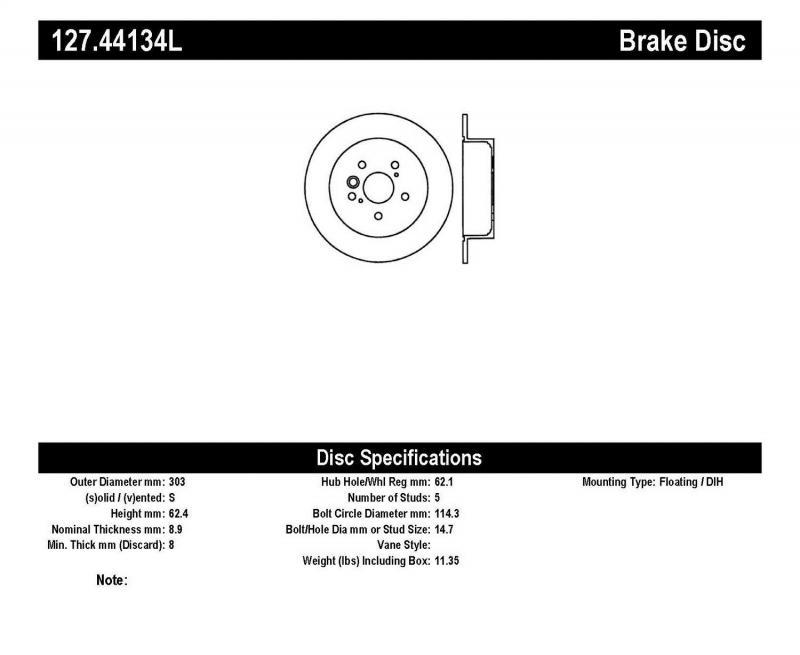 StopTech 127.44134L Sport Drilled/Slotted Brake Rotor; Rear Left Toyota Rav4 Rear Left 2004-2005