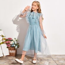 Girls Tie Neck Lace Overlay Bodice Ruffle Trim Mesh Dress