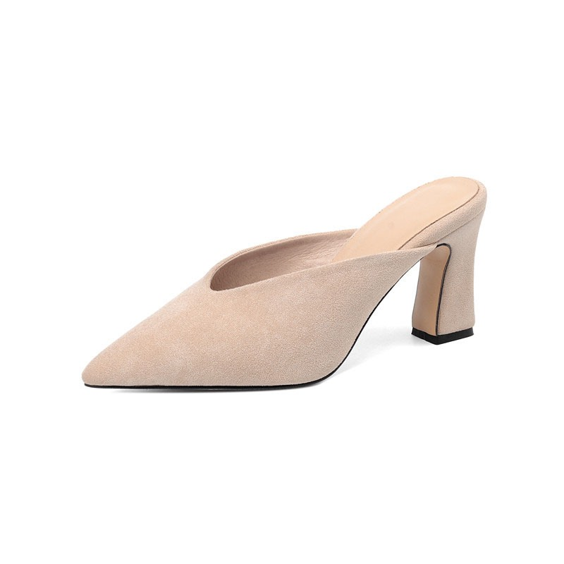 Ericdress Closed Toe Slip-On Chunky Heel Plain Slippers