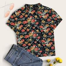 Mock Neck Floral Fitted Tee
