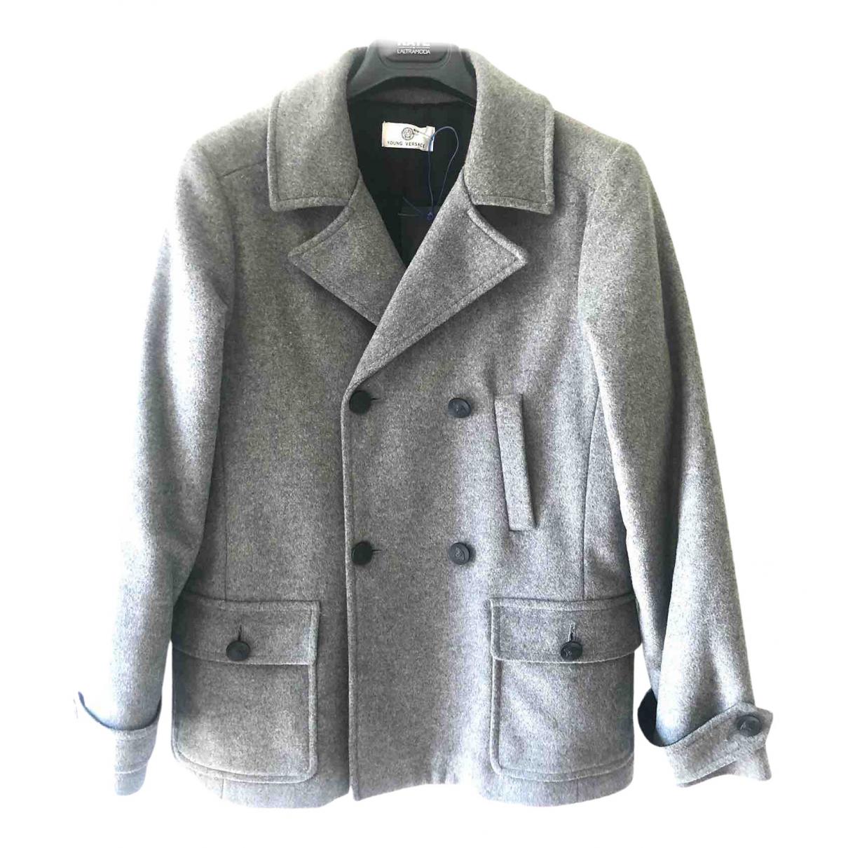 Versace - Blousons.Manteaux   pour enfant en laine - gris