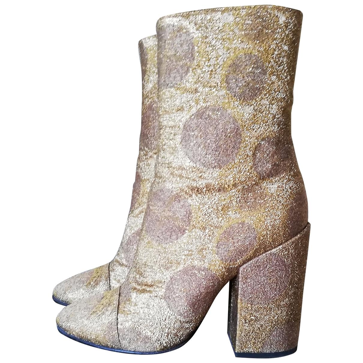 Dries Van Noten - Boots   pour femme en toile - dore
