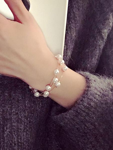 Milanoo Women's Charm Bracelet Pearls Beaded Chain Detail Alloy Chic Bracelet