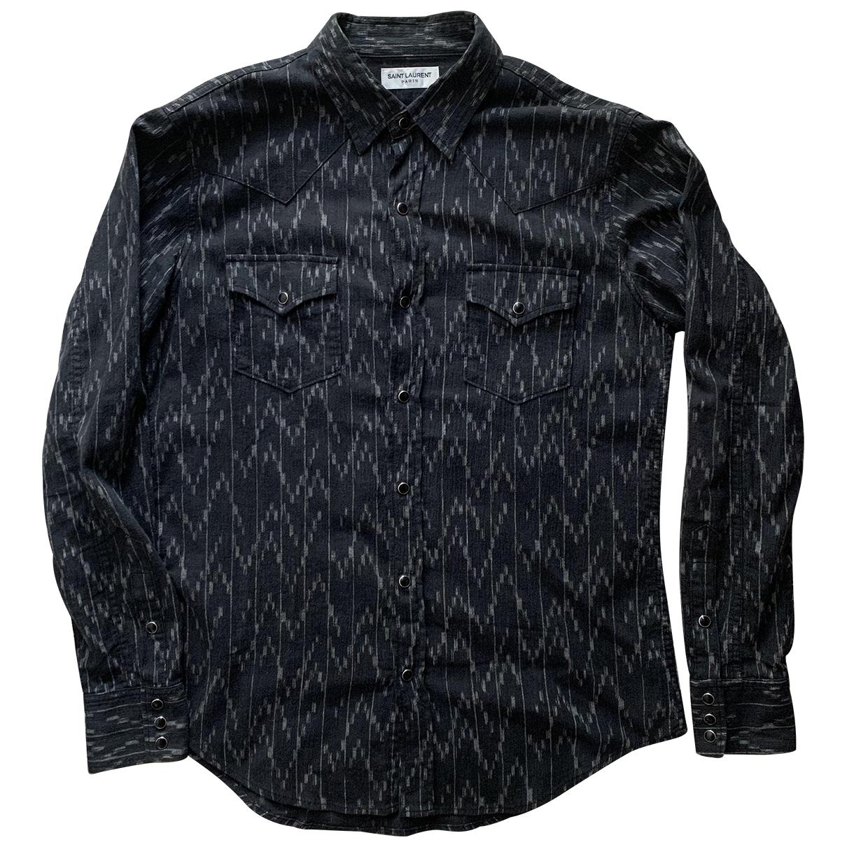 Saint Laurent \N Anthracite Cotton Shirts for Men M International
