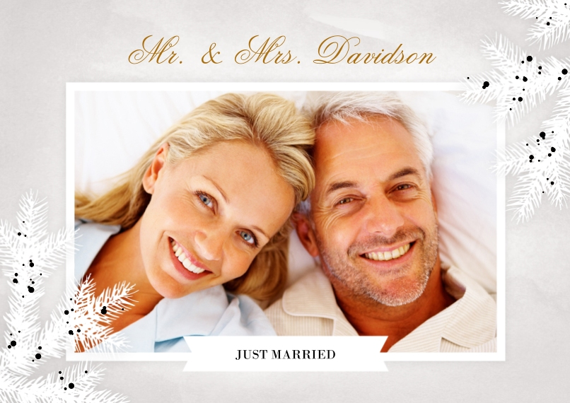 Just Married Set of 20, Premium 5x7 Foil Card, Card & Stationery -Fabric Of Love