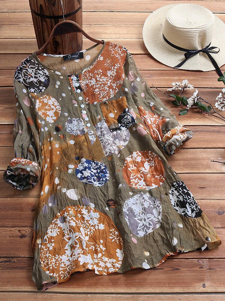 Vintage Print Wrinkle Crew Neck Button Long Sleeve Plus Size Shirts