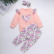 Baby Girl Floral Heart Print Ruffle Sweatshirt & Pants