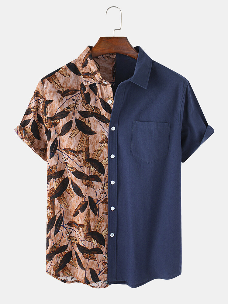 Mens 100% Cotton Patchwork Leaf Print Casual Short Sleeve Shirts With Pocket