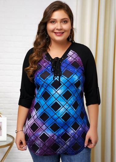 Plaid Print Lace Up Plus Size T Shirt - 3X