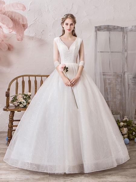 Milanoo Wedding Dress Princess Silhouette Floor Length V Neck Sleeveless Natural Waist Beaded Lycra Spandex Bridal Gowns