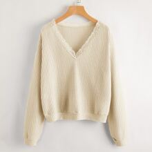 Solid Lace Trim Waffle Sweater