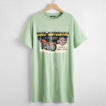 Vestido camiseta con estampado de motocicleta