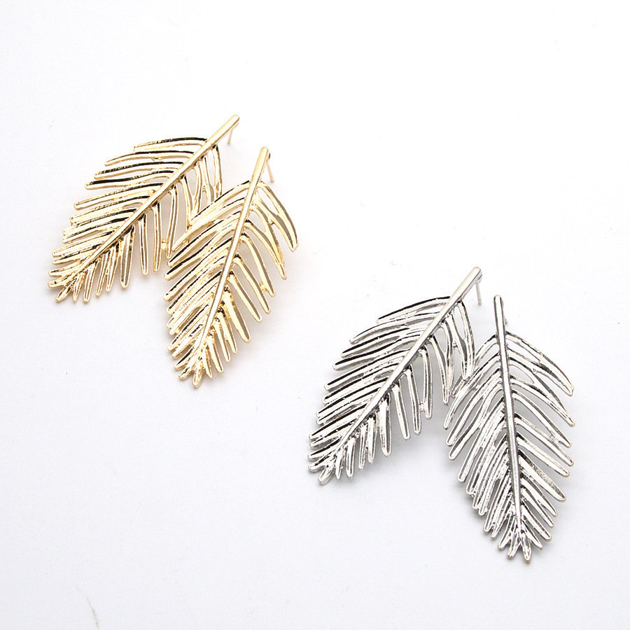 Trendy Ear Drop Leaves Silver Gold Earrings Statement Pendientes Mujer Jewelry Long Dangle for Women