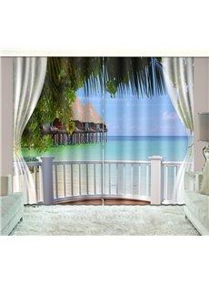 3D Printed Waves and Blue Sky Seaside Natural Scenery Custom Living Room Curtain