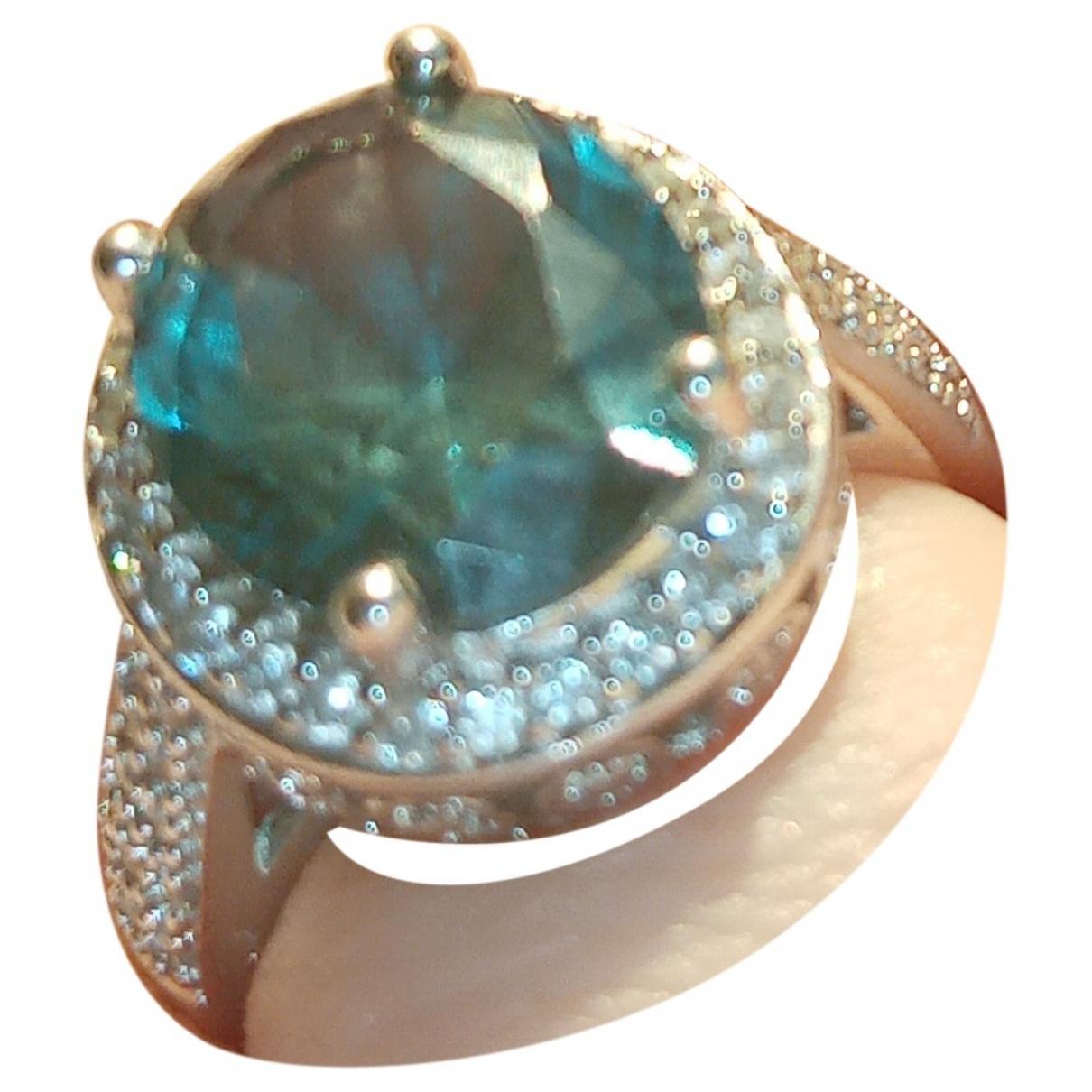 Non Signe / Unsigned Art Deco Ring in  Blau Silber