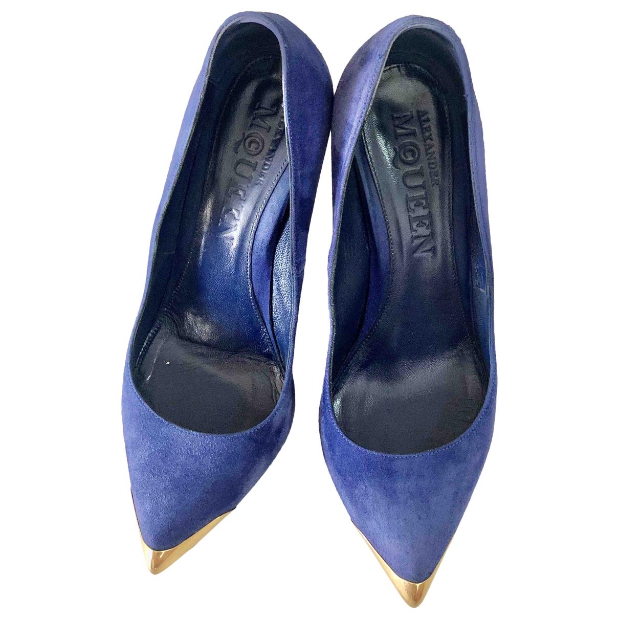 Alexander Mcqueen \N Blue Suede Heels for Women 37.5 EU