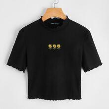 Camiseta tejida de canale floral con bordado ribete en forma de lechuga