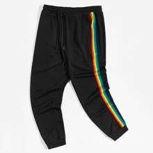 Pantalones deportivos con cinta lateral de rayas de arcoiris de cintura con cordon