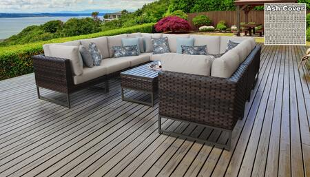 Barcelona Collection BARCELONA-11a-BRN-ASH 11-Piece Patio Set 11a with 4 Corner Chair   6 Armless Chair   1 Coffee Table - Beige and Ash