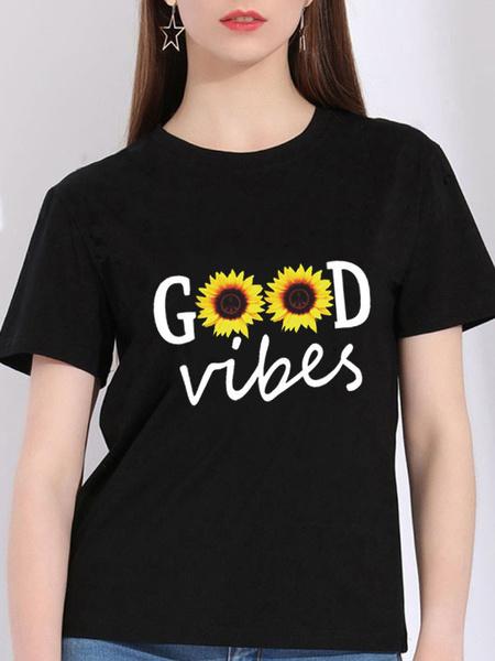 Milanoo Graphic T Shirt Sunflower Short Sleeves Printed Jewel Neck Cotton Tee