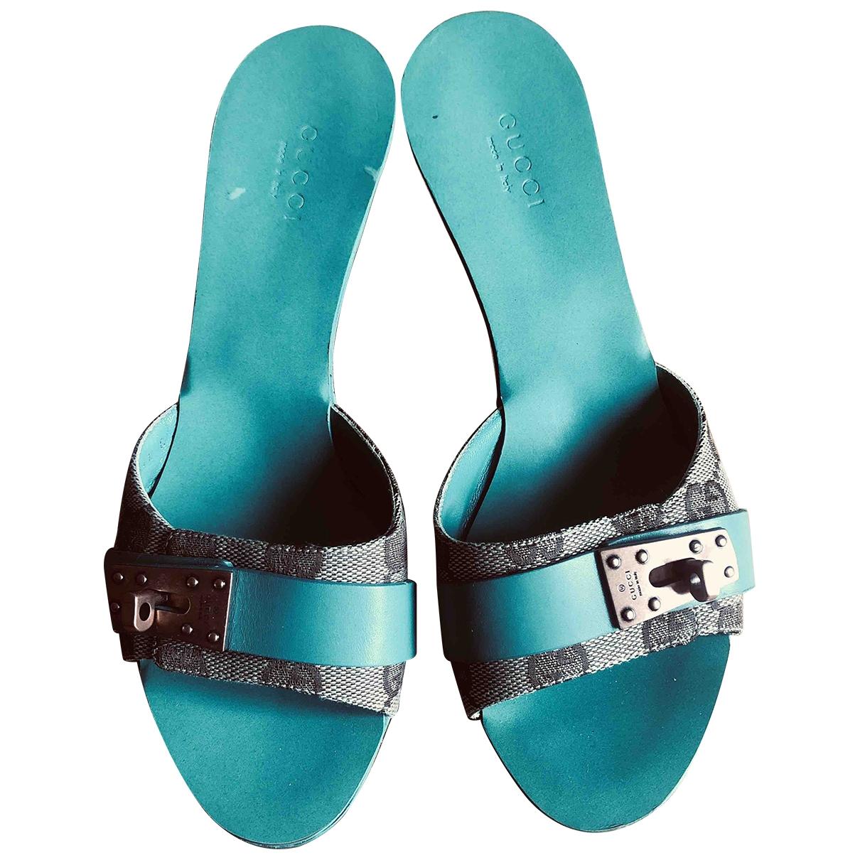 Gucci - Sandales   pour femme en toile - turquoise