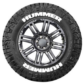 Tire Stickers HUMMER-1718-125-8-Y Permanent Raised Rubber Lettering 'HUMMER' Logo - 8 of each -17