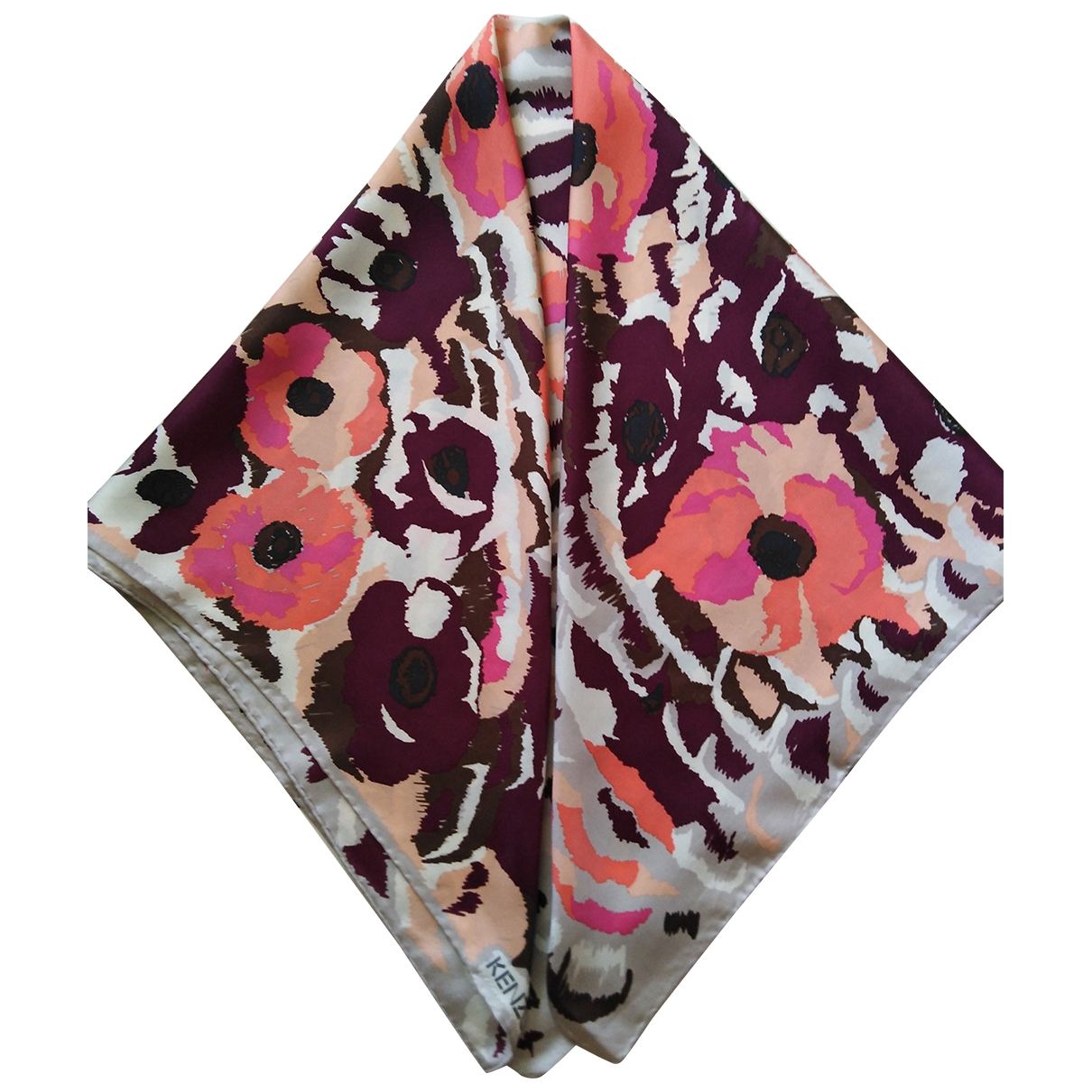 Kenzo \N Burgundy Silk Silk handkerchief for Women \N