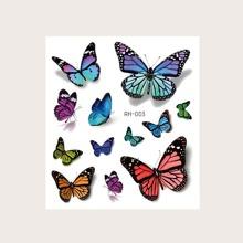 3D Butterfly Pattern Tattoo Sticker 1sheet