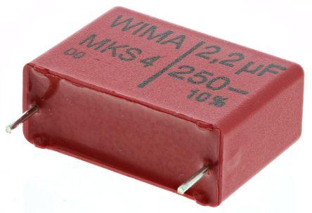 WIMA 2.2μF Polyester Capacitor PET 160 V ac, 250 V dc ±10%, Through Hole (5)