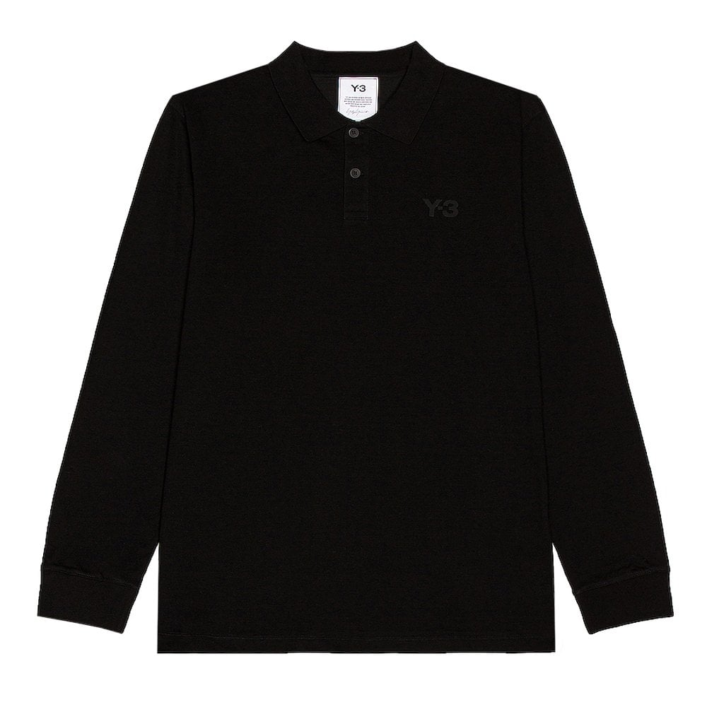 Y-3 Ls Polo Colour: BLACK, Size: LARGE