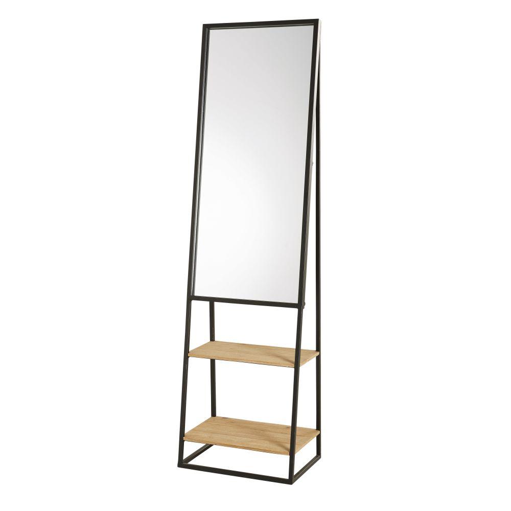 Spiegel mit Ablageflaechen aus schwarzem Metall und Tannenholz 45x161