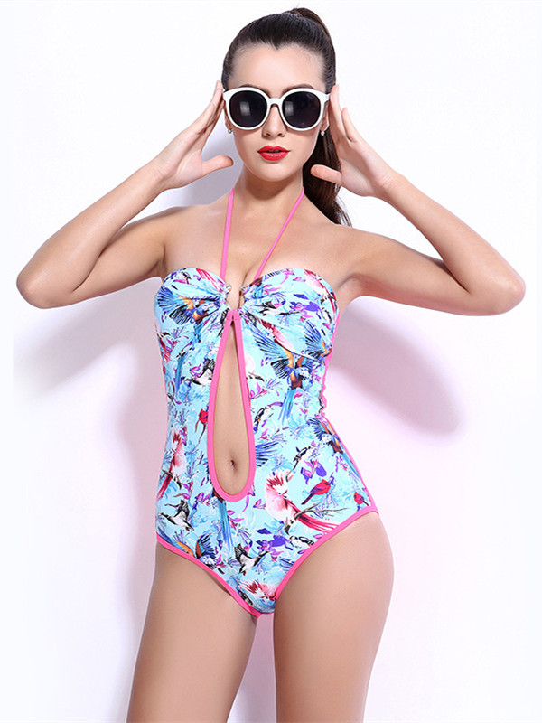 Female Vintage Flower Hollow Halter Swimwear with Free Wire and Falsies Push-up Monokini