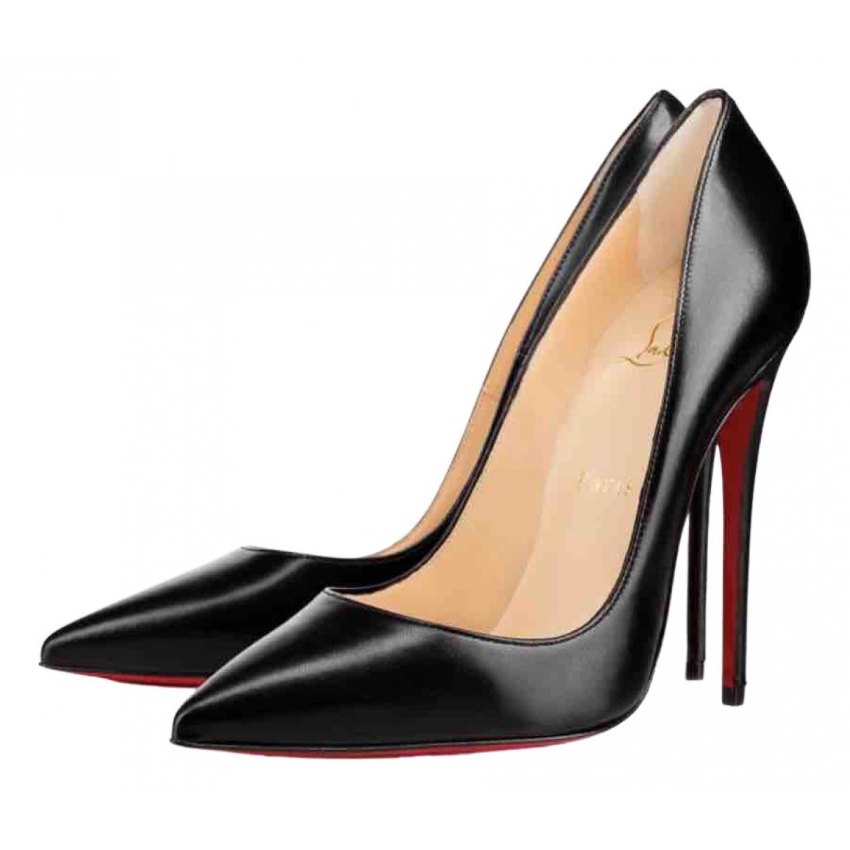Christian Louboutin So Kate  Black Leather Heels for Women 37.5 EU